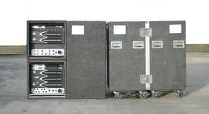 "22u/45"" high cases: 2x10u ampranks, 1x tool case, 1x production case - taking the space of 2x45"" and splitting in two"