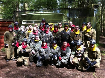 The gang go Paintballing - the red team won!