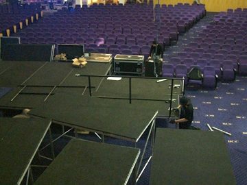 SSE Risers provides a stage extension for 'the Gathering' - a religious event over 3 days in February at the Bethal Convention Centre, West Bromwich.